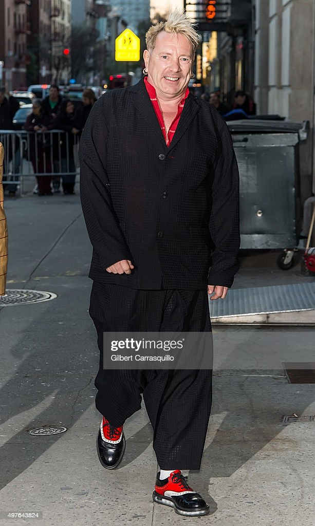 Singer-songwriter John Lydon of Public Image Ltd is seen arriving at The Late Show with Stephen Colbert taping outside Ed Sullivan Theater on November 17, 2015 in New York City.