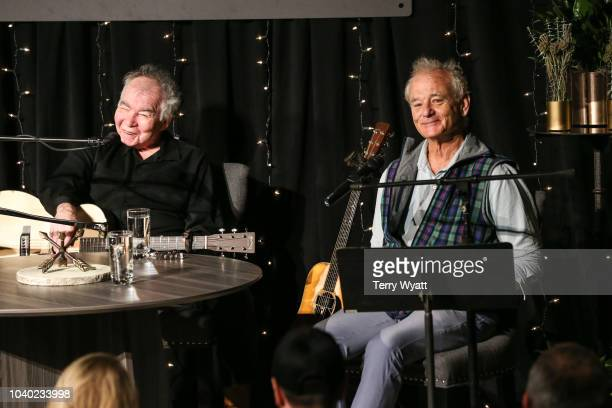 Singer-songwriter John Prine and actor Bill Murray speak during The Recording Academy's Up Close And Personal With John Prine And Bill Murray on...