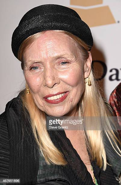 Singersongwriter Joni Mitchell attends the PreGRAMMY Gala and Salute To Industry Icons honoring Martin Bandier on February 7 2015 in Los Angeles...