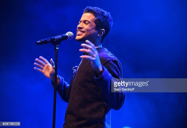 Singersongwriter Jordan Fisher performs on stage during Z100 CocaCola All Access Lounge at Z100's Jingle Ball 2016 Presented by Capital One preshow...