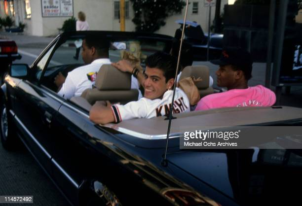 Singersongwriter Jordan Knight of New Kids On The Block sitting in the back of a Mercedes Benz convertible circa 1990