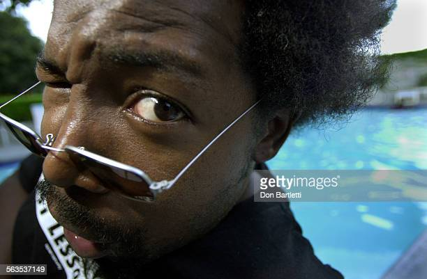 Singer–songwriter Joseph Foreman better known as 'Afroman' clowns around poolside at his Orange County hotel a few hours before a nearby concert...