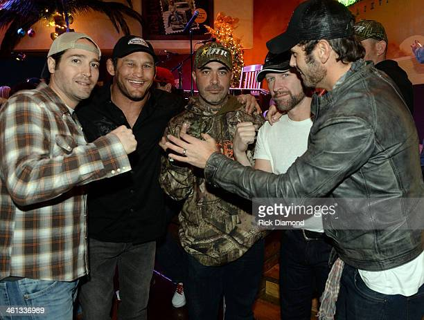 Singer/Songwriter Josh Thompson UFC Fighter Dan Henderson Singers/Songwriters Aaron Lewis Craig Morgan and Chuck Wicks attend the 2014 ATA Trade Show...