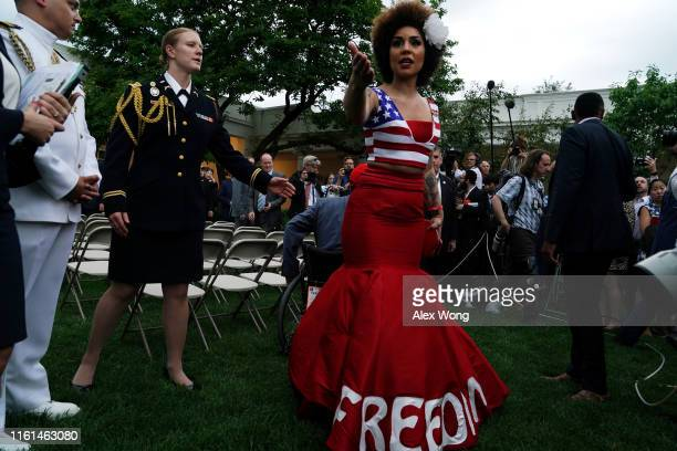 Singer-songwriter Joy Villa speaks to members of the media after President Trump made a Rose Garden statement on the census July 11, 2019 at the...