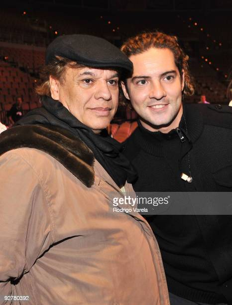 Singer/songwriter Juan Gabriel and singer David Bisbal attend the 10th Annual Latin GRAMMY Awards Univision Radio Remotes Day 3 held at the Mandalay...