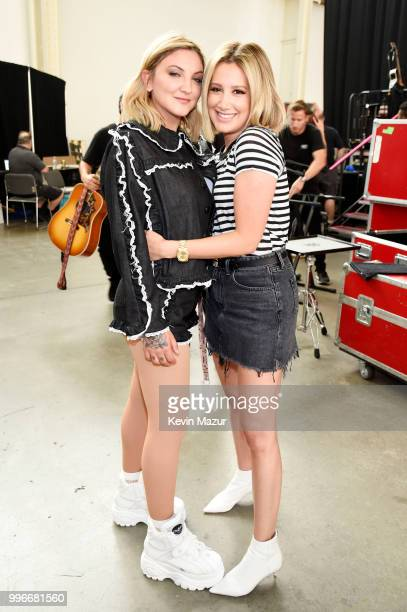 Singersongwriter Julia Michaels and actress Ashley Tisdale attend the Amazon Music Unboxing Prime Day event on July 11 2018 in Brooklyn New York