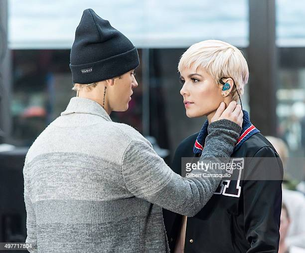 """Singer-songwriter Justin Bieber and singer Halsey perform on NBC's """"Today"""" Citi Concert Series at the NBC's TODAY Show on November 18, 2015 in New..."""