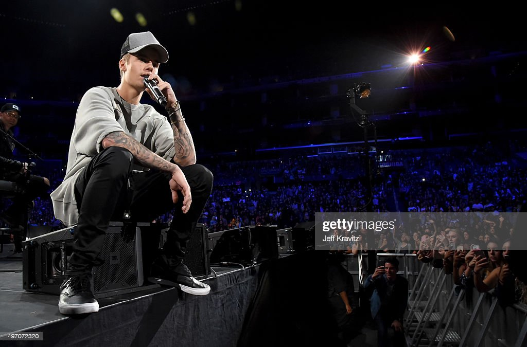 Singer/songwriter Justin Bieber performs onstage during an evening with Justin Bieber to celebrate the release of his new album 'Purpose' at Staples Center on November 13, 2015 in Los Angeles, California.