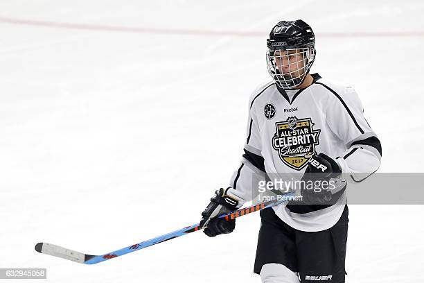 Singersongwriter Justin Bieber plays during the 2017 NHL AllStar Celebrity Shootout as part of the 2017 NHL AllStar Weekend at STAPLES Center on...