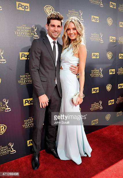 Singersongwriter Justin Gaston and actress Melissa Ordway attend The 42nd Annual Daytime Emmy Awards at Warner Bros Studios on April 26 2015 in...