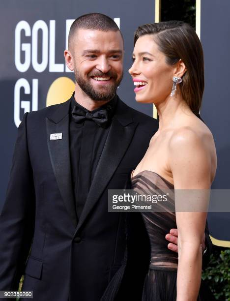 Singersongwriter Justin Timberlake and Actor Jessica Biel attend The 75th Annual Golden Globe Awards at The Beverly Hilton Hotel on January 7 2018 in...