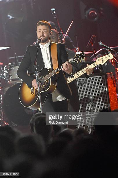 Singersongwriter Justin Timberlake performs onstage at the 49th annual CMA Awards at the Bridgestone Arena on November 4 2015 in Nashville Tennessee