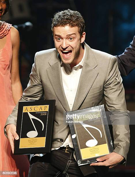 Singer/songwriter Justin Timberlake receives special recognition at ASCAP's 25th Annual Pop Music Awards at the Kodak Theater on April 9 2008 in Los...