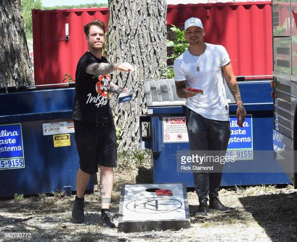 FGL's Tyler Hubbard Wayne Rouse President Country Stampede Gil Cunningham Talent Buyer Neste Entertainment and FGL's Brian Kelley during Kicker...