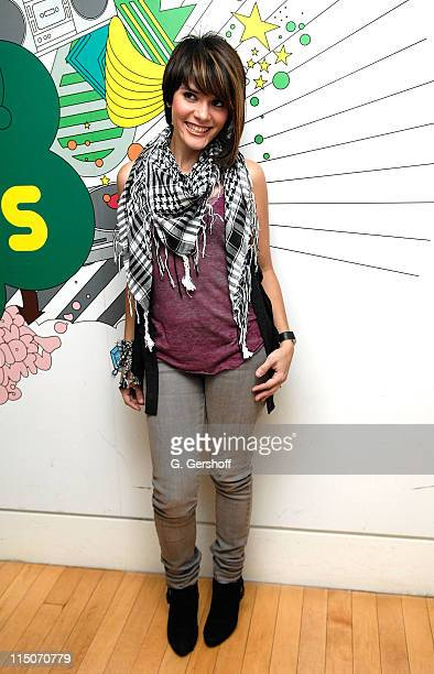 Singer/songwriter Kany Garcia poses for pictures after visiting MTV's Mi TRL at MTV Studios on June 9 2008 in New York