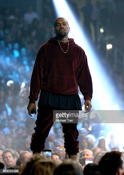 Singer/songwriter Kanye West performs onstage during The 57th Annual GRAMMY Awards at STAPLES Center on February 8 2015 in Los Angeles California