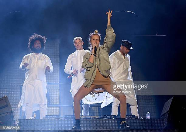 Singer/songwriter Karen Marie aka M�� performs onstage with Major Lazer during day 3 of the 2016 Coachella Valley Music Arts Festival Weekend 2 at...