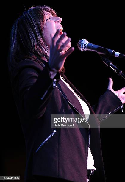 Singer/Songwriter Kathy Mattea performs during the 'Music Saves Mountains' benefit concert at the Ryman Auditorium on May 19 2010 in Nashville...