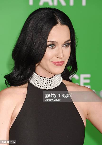 Singersongwriter Katy Perry arrives at the Premiere Of Paramount Pictures' 'Office Christmas Party' at Regency Village Theatre on December 7 2016 in...