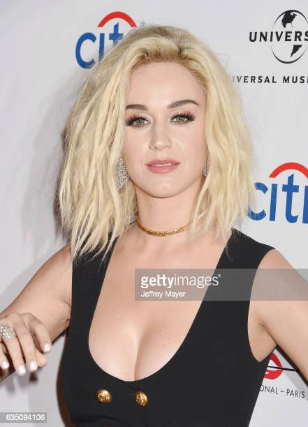 Singersongwriter Katy Perry arrives at the Universal Music Group's 2017 GRAMMY After Party at The Theatre at Ace Hotel on February 12 2017 in Los...