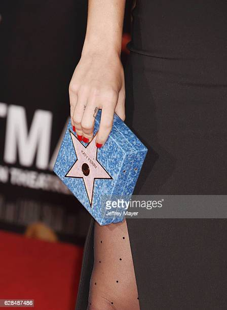 Singersongwriter Katy Perry handbag detail at the Premiere Of Paramount Pictures' 'Office Christmas Party' at Regency Village Theatre on December 7...