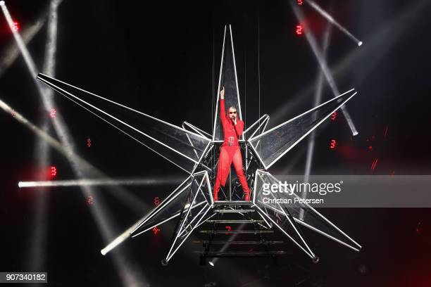 Singer/songwriter Katy Perry performs during a stop of 'Witness The Tour' at Gila River Arena on January 19 2018 in Glendale Arizona