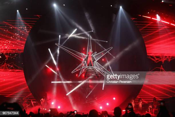 Singer/songwriter Katy Perry performs during a stop of Witness The Tour at Gila River Arena on January 19 2018 in Glendale Arizona