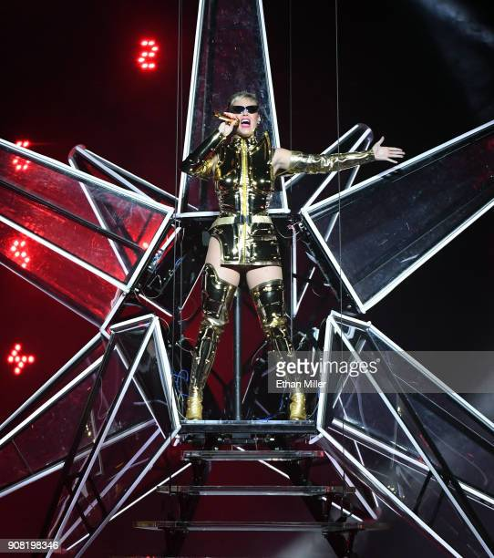 Singer/songwriter Katy Perry performs during a stop of Witness The Tour at TMobile Arena on January 20 2018 in Las Vegas Nevada