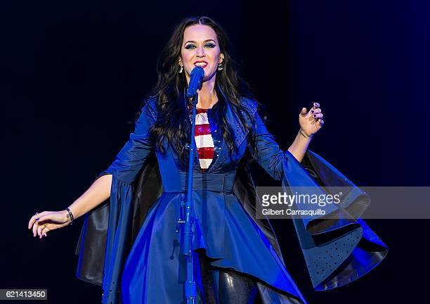 Singersongwriter Katy Perry performs during Katy Perry holds Get Out The Vote concert in support of Hillary Clinton at Mann Center For Performing...