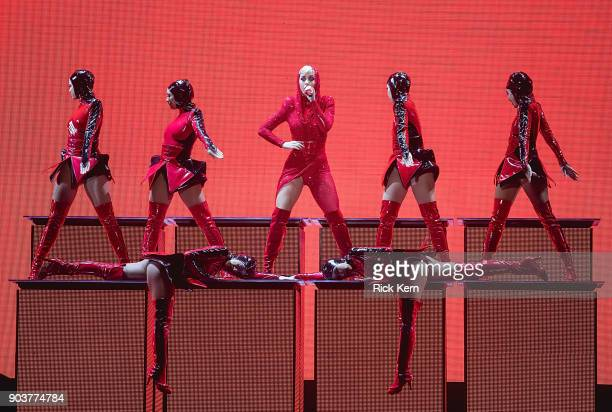 Singersongwriter Katy Perry performs in concert during 'Witness The Tour' at the ATT Center on January 10 2018 in San Antonio Texas