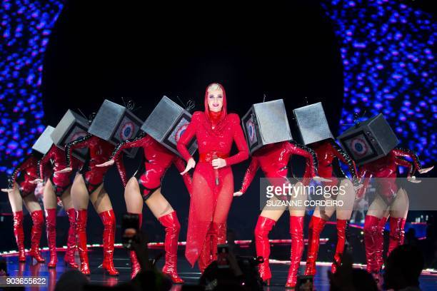 TOPSHOT Singersongwriter Katy Perry performs live in concert on her 'Witness' The Tour event held at the ATT Center on January 10 2018 in San Antonio...