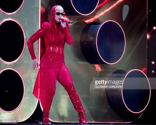 Singersongwriter Katy Perry performs live in concert on her 'Witness' The Tour event held at the ATT Center on January 10 2018 in San Antonio Texas /...