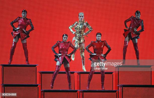 Singer/songwriter Katy Perry performs with dancers during a stop of Witness The Tour at TMobile Arena on January 20 2018 in Las Vegas Nevada