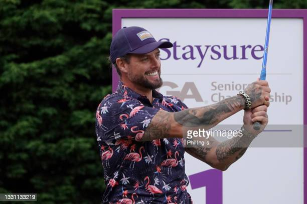Singer/Songwriter Keith Duffy in action during the ProAm ahead of the Staysure PGA Seniors Championship at Formby Golf Club on July 28, 2021 in...