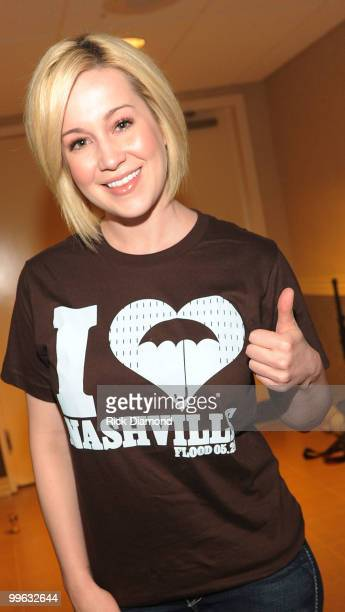 "Singer/Songwriter Kellie Pickler backstage during the ""Music City Keep on Playin'"" benefit concert at the Ryman Auditorium on May 16, 2010 in..."