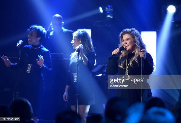 Singer/songwriter Kelly Clarkson performs at the iHeartRadio Album Release Party With Kelly Clarkson at iHeartRadio Theater on October 27 2017 in...