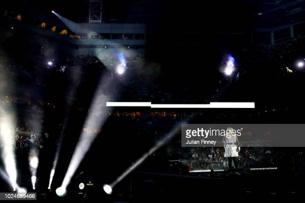 Singersongwriter Kelly Clarkson performs during the opening night ceremony at Arthur Ashe Stadium on Day One of the 2018 US Open at the USTA Billie...