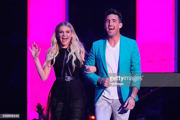 Singersongwriter Kelsea Ballerini and singersongwriter Jake Owen onstage during the 2016 CMT Music awards at the Bridgestone Arena on June 8 2016 in...