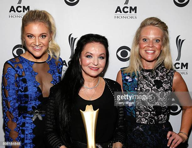 Singersongwriter Kelsea Ballerini honoree Crystal Gayle and ACM's Tiffany Moon attend the 10th Annual ACM Honors at the Ryman Auditorium on August 30...