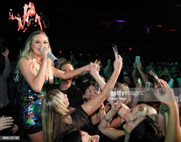 Singer/songwriter Kelsea Ballerini performs with fans during the ACM Party For A Cause The Joint at The Joint inside the Hard Rock Hotel Casino on...
