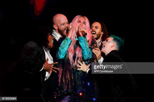 TOPSHOT US singersongwriter Kesha performs during the 2017 MTV Europe Music Awards at Wembley Arena in London on November 12 2017 / AFP PHOTO / Ben...