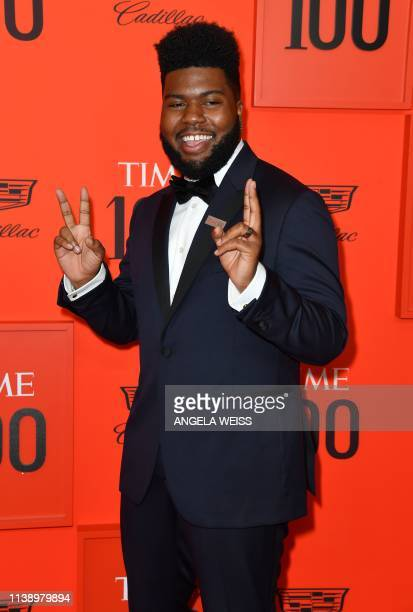 Singer/songwriter Khalid arrives on the red carpet for the Time 100 Gala at the Lincoln Center in New York on April 23, 2019.