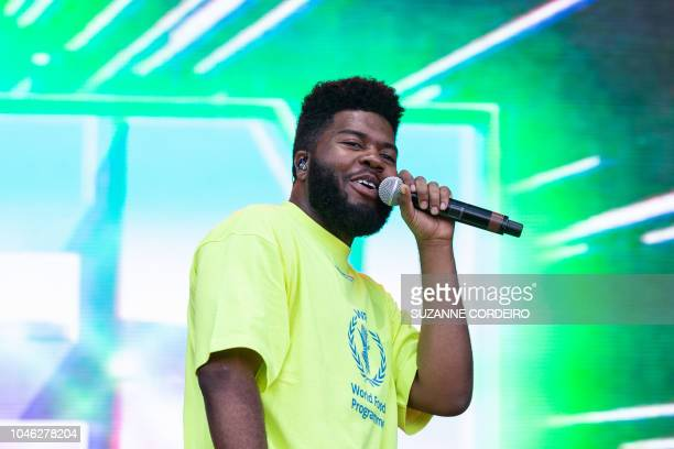 Singer-songwriter Khalid performs during weekend one of ACL Music Festival at Zilker Park in Austin, Texas on October 5, 2018.