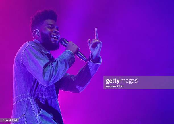 Singersongwriter Khalid performs on stage at PNE Forum on July 13 2017 in Vancouver Canada