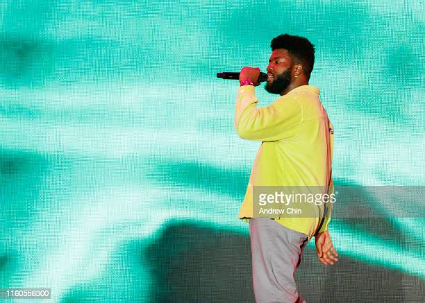 Singer-songwriter Khalid performs on stage during Day 2 of FVDED in The Park at Holland Park on July 06, 2019 in Surrey, Canada.