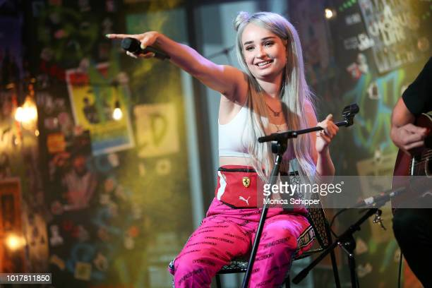 Singer-songwriter Kim Petras performs on stage when she visits Build Studio on August 16, 2018 in New York City.