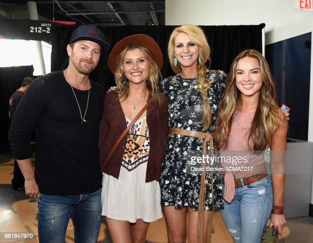 Singersongwriter Kip Moore musicians Hannah Mulholland Naomi Cooke and Jennifer Wayne of Runaway June attend the 52nd Academy Of Country Music Awards...