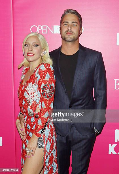 Singer/songwriter Lady Gaga and actor Taylor Kinney attend the 'Rock The Kasbah' New York premiere at AMC Loews Lincoln Square on October 19 2015 in...