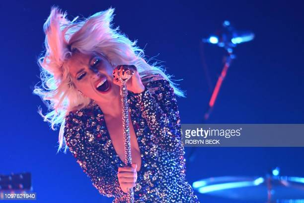 TOPSHOT US singersongwriter Lady Gaga performs onstage during the 61st Annual Grammy Awards on February 10 in Los Angeles
