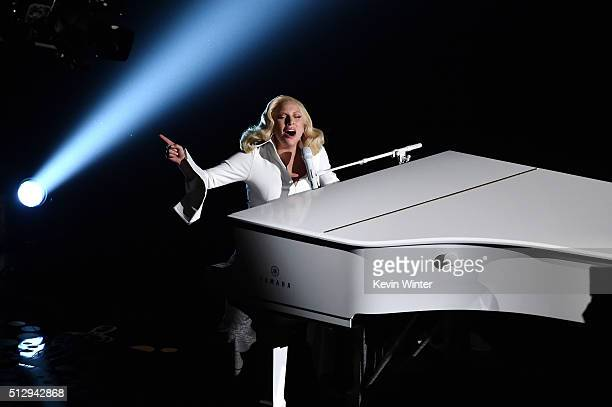 Singersongwriter Lady Gaga performs onstage during the 88th Annual Academy Awards at the Dolby Theatre on February 28 2016 in Hollywood California